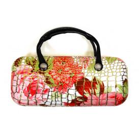 étui couture façon croco blanc fleurs rouges 15,5cm x 7cm