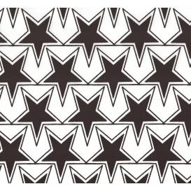 tissu popeline blanc étoiles noires largeur 145cm x 50cm