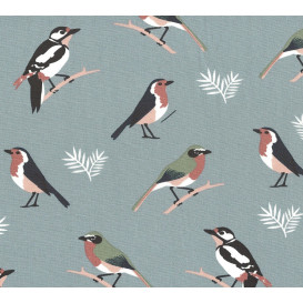 tissu popeline gris oiseaux largeur 145cm x 50cm