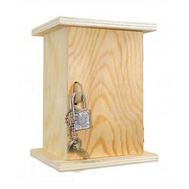 tirelire en bois avec cadenas et clés