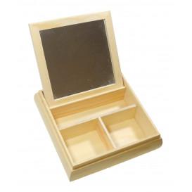 boite à bijoux bois avec miroir 20x20x5cm