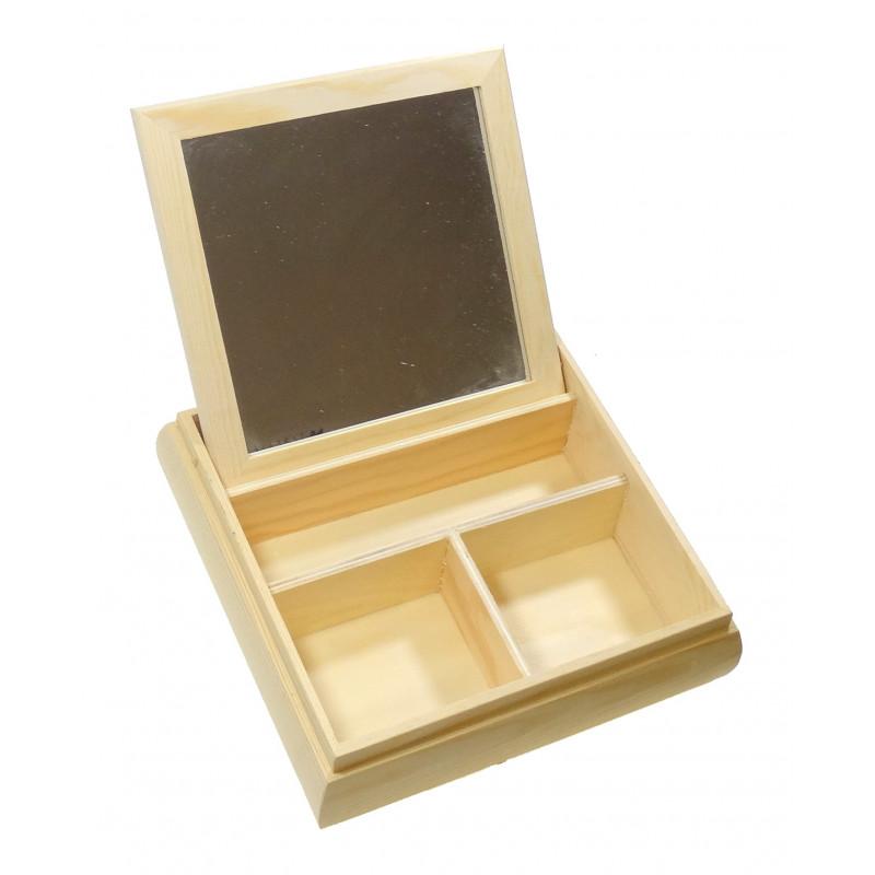 boite bijoux bois avec miroir 20x20x5cm. Black Bedroom Furniture Sets. Home Design Ideas