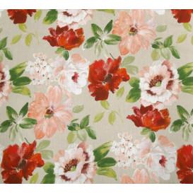 tissu lin fleurs rouges largeur 180cm x 50cm