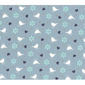 tissu coton bleu oiseaux largeur 140cm x 50cm