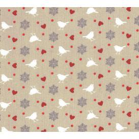 tissu coton beige oiseaux largeur 140cm x 50cm