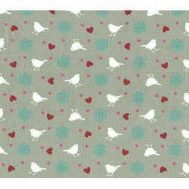tissu coton gris oiseaux largeur 140cm x 50cm