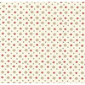 tissu coton écru pois et fleurs rouges largeur 140cm x 50cm