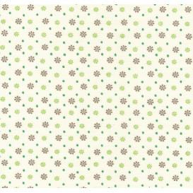 tissu coton écru pois et fleurs vertes largeur 140cm x 50cm