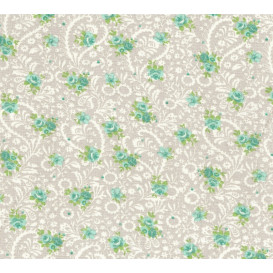 tissu coton gris arabesques et fleurs vertes largeur 140cm x 50cm
