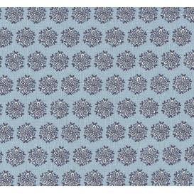 tissu coton bleu fleurs bleues largeur 140cm x 50cm