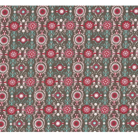 tissu coton kaki arabesques roses largeur 140cm x 50cm