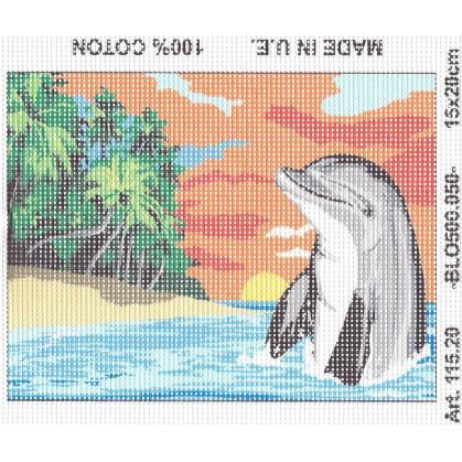 Kit canevas dauphin coucher soleil 15x20 cm