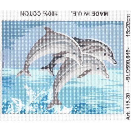 Kit canevas 3 dauphins 15x20 cm