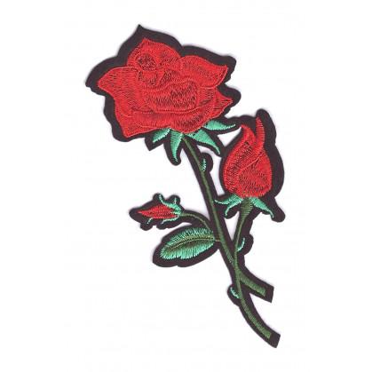 écusson fleur rose rouge thermocollant n°2