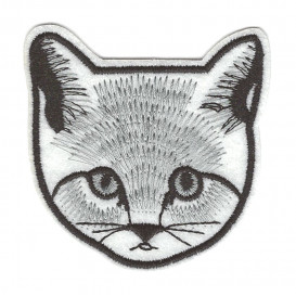écusson tête de chat blanc et gris thermocollant