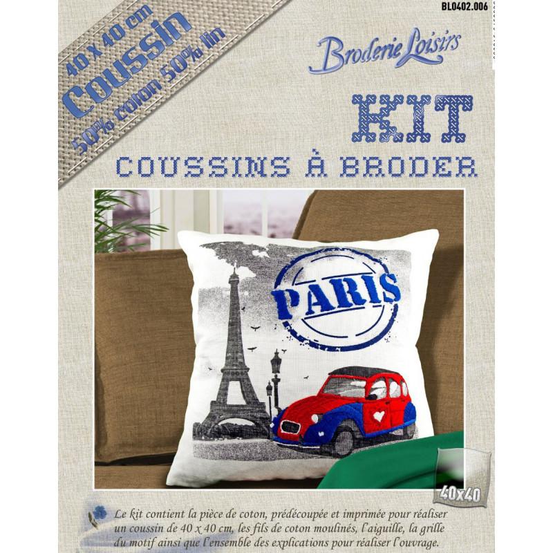 Kit Coussin Broder Lin Coton Paris 40x40cm