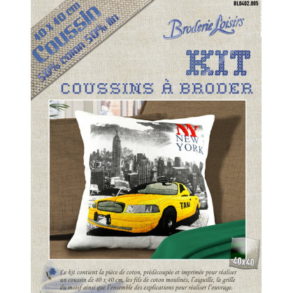 Kit Coussin Broder Lin Coton New York 40x40cm