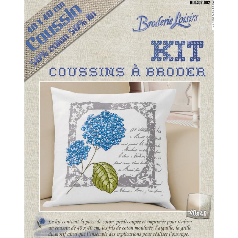 Kit Coussin Broder Lin Coton Fleur Bleue 40x40cm