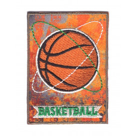 écusson ballon basketball rectangulaire thermocollant