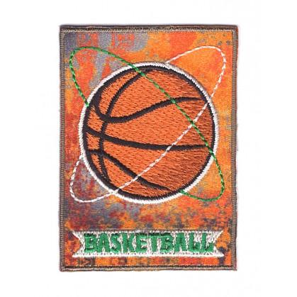 écusson ballon basketball rectangulaire thermocollant