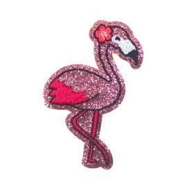 écusson flamant rose paillettes thermocollant