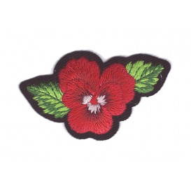 écusson fleur pensée rouge thermocollant