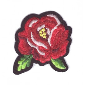 écusson fleur rose rouge thermocollant n°3