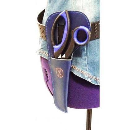 étui en cuir bleu pour ciseaux de 25cm