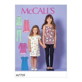 patron enfant hauts, robes, collants McCall's M7709