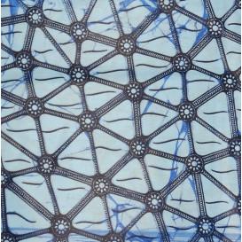 tissu africain wax bleu forme bleue largeur 113cm x 50cm
