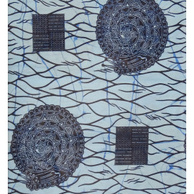 tissu africain wax bleu forme bleue largeur 113cm x 50cm n°2