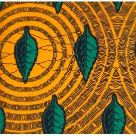 tissu africain wax jaune feuille largeur 113cm x 50cm