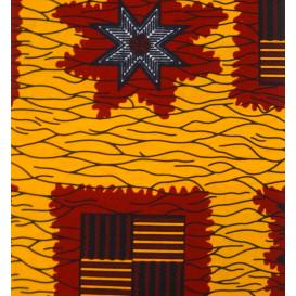 tissu africain wax jaune forme rouge largeur 113cm x 50cm