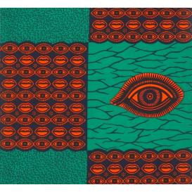 tissu africain wax vert yeux largeur 113cm x 50cm