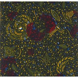 tissu africain wax kaki forme jaune/rouge largeur 113cm x 50cm