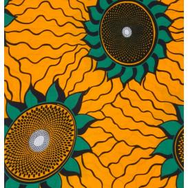 tissu africain wax jaune soleil largeur 113cm x 50cm