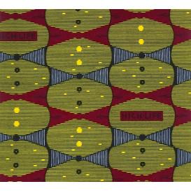 tissu africain wax vert forme bordeaux/bleu largeur 113cm x 50cm