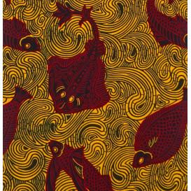 tissu africain wax jaune poisson largeur 113cm x 50cm