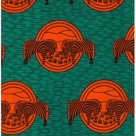 tissu africain wax vert zèbre largeur 113cm x 50cm