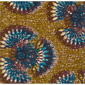 tissu africain wax kaki forme bleu/bordeaux largeur 113cm x 50cm
