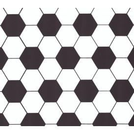 tissu popeline blanc football largeur 145cm x 50cm