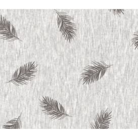 tissu coton/polyester gris plumes largeur 145cm x 50cm
