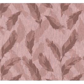 tissu coton/polyester vieux rose plumes largeur 145cm x 50cm