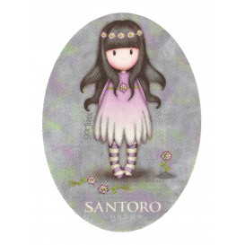 écusson gorjuss santoro fleurs ovale thermocollant