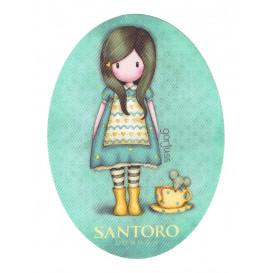 écusson gorjuss santoro tasse de thé ovale thermocollant