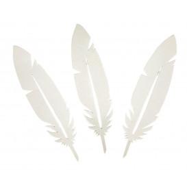 24 plumes blanches en papier épais 8cm x 2cm
