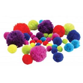 45 pompons tailles et couleurs assorties