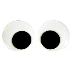 2 gros yeux mobiles adhésifs noir et blanc 10cm