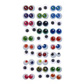 30 paires d'yeux mobiles 3D adhésifs 1cm