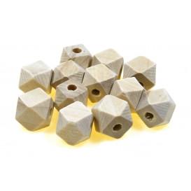 12 perles géométriques en bois 1cm trou 3mm
